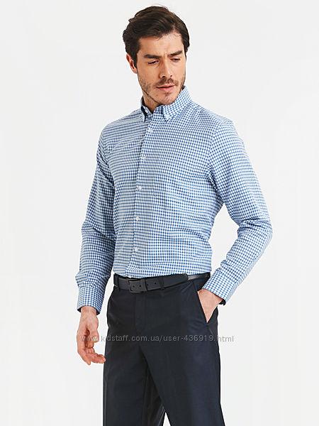 белая мужская рубашка LC Waikiki  ЛС Вайкики в сине-голубую клетку