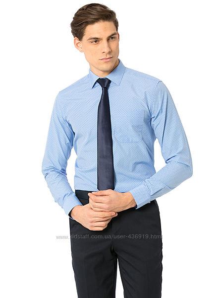 голубая мужская рубашка LC Waikiki в синюю точку, с карманом на груди