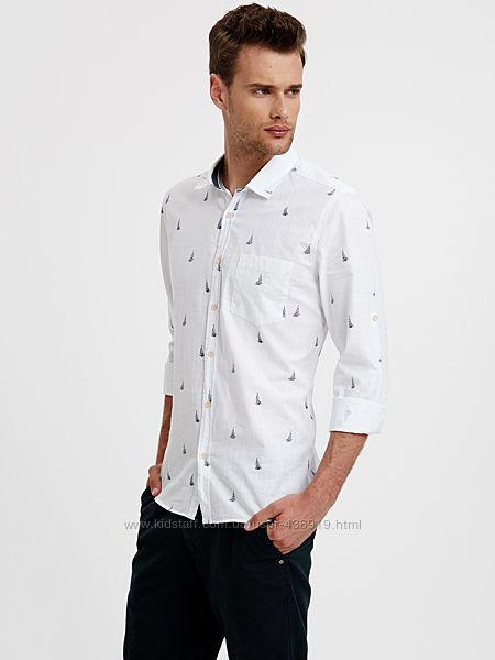 белая мужская рубашка LC Waikiki  ЛС Вайкики с принтом - парус