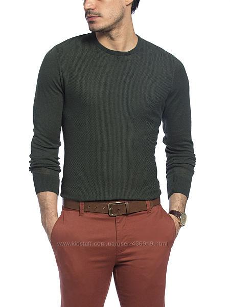 зеленый мужской свитер LC Waikiki тонкий, с фактурной передней планкой