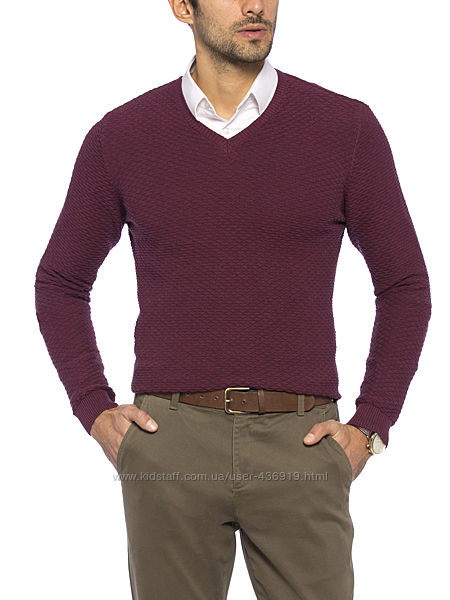 бордовый мужской свитер LC Waikiki фактурной вязки, с V-образным вырезом