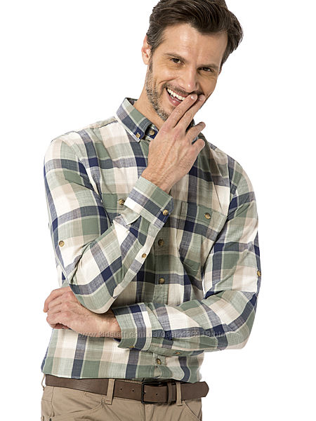 мужская рубашка LC Waikiki хаки в клетку, с пуговицами на воротнике