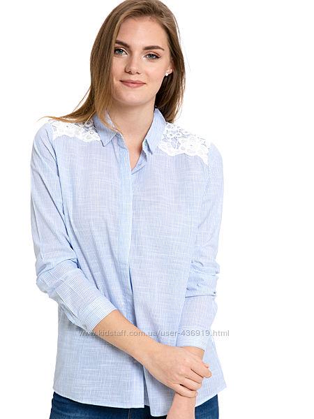 женская рубашка LC Waikiki в тонкую голубую полоску с кружевом на плечах
