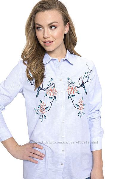 женская рубашка LC Waikiki в тонкую голубую полоску с цветочным принтом