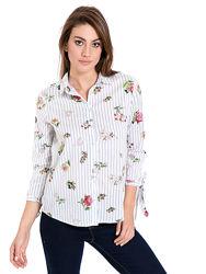 белая женская рубашка LC Waikiki в синюю полоску, с цветочным принтом