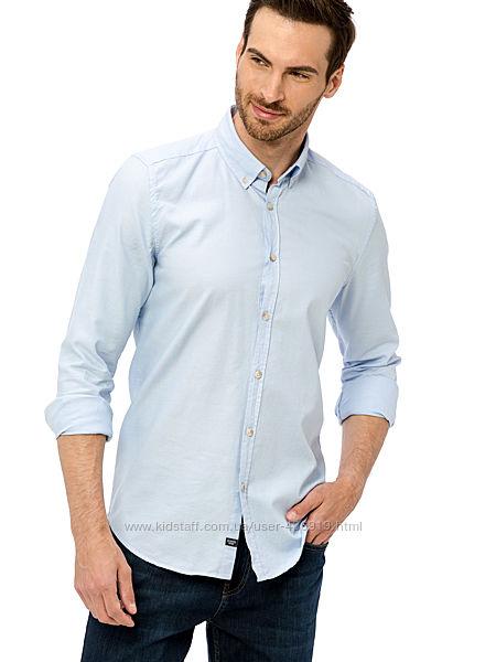 голубая мужская рубашка LC Waikiki  ЛС Вайкики с пуговицами на воротнике
