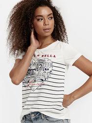 Белая женская футболка LC Waikiki  ЛС Вайкики с сердцем La Vita e Bella