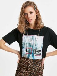 черная женская футболка Lc Waikiki  Лс Вайкики Life is a dream or reality