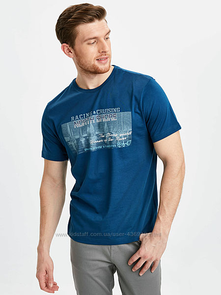 синяя мужская футболка LC Waikiki Racing & Cruising North Shore