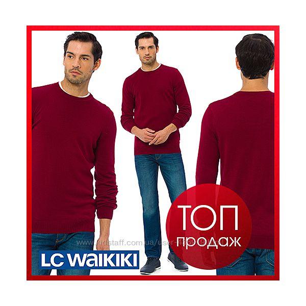 бордовый мужской свитер LC Waikiki  ЛС Вайкики с круглым воротом