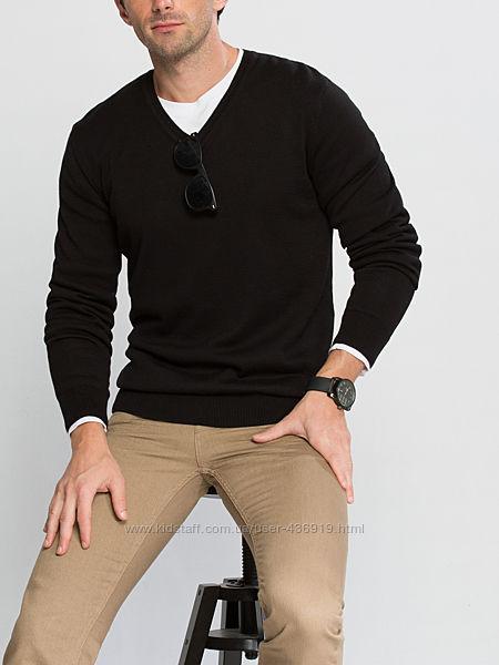 мужской свитер черный LC Waikiki  ЛС Вайкики с V-образным вырезом
