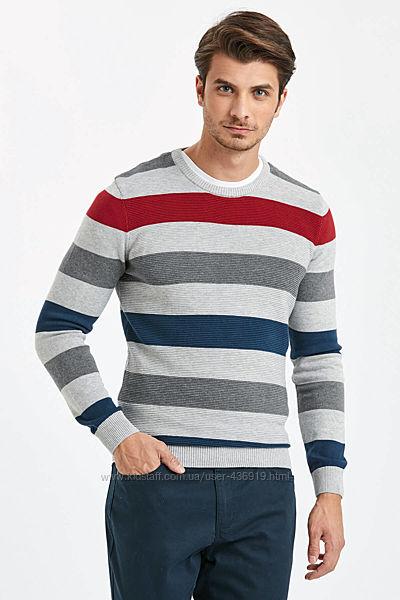 серый мужской свитер LC Waikiki  ЛС Вайкики в красную и синюю полоску