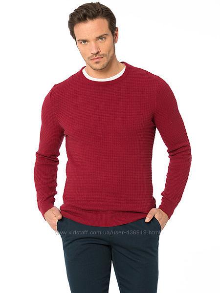 бордовый мужской свитер LC Waikiki  ЛС Вайкики с фактурным рисунком