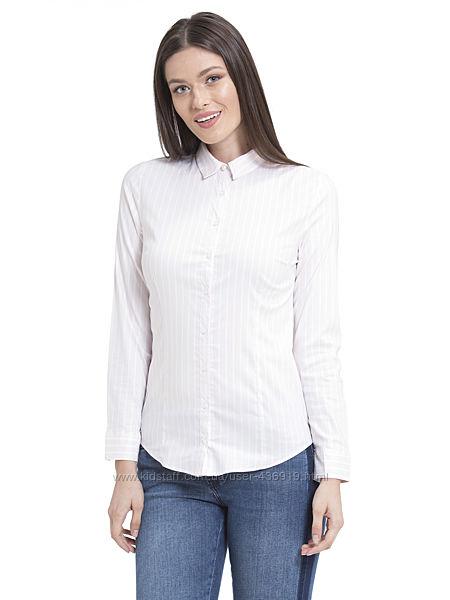 персиковая женская рубашка LC Waikiki / ЛС Вайкики в белую полоску
