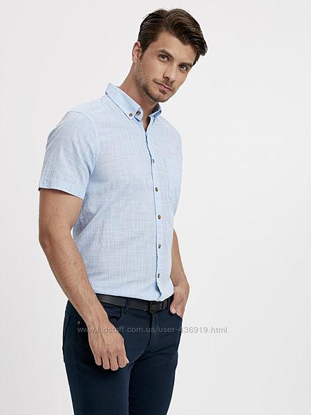 мужская рубашка LC Waikiki с коротким рукавом, в мелкую голубую клетку