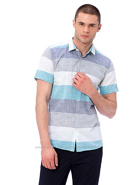 белая мужская рубашка LC Waikiki в голубую и серую полоску