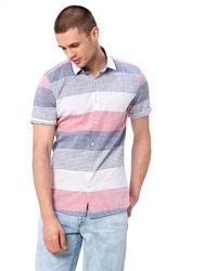 белая мужская рубашка LC Waikiki в красную и синюю полоску