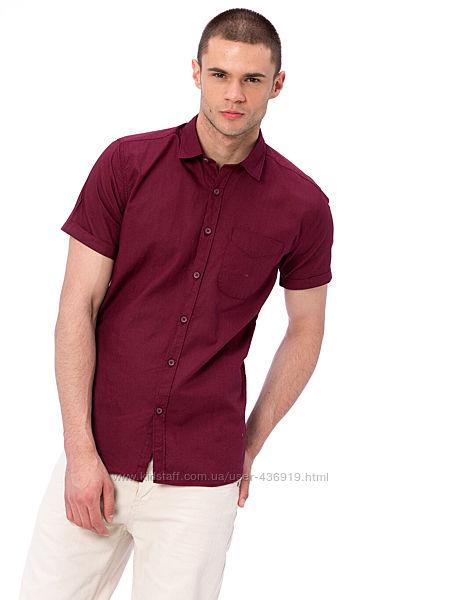 бордовая мужская рубашка LC Waikiki с коротким рукавом, с карманом на груди