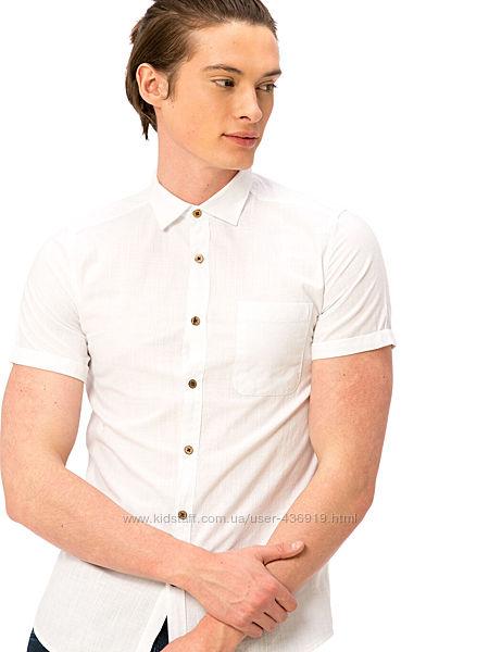 белая мужская рубашка LC Waikiki с пуговицами цвета слоновой кости