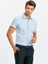 белая мужская рубашка LC Waikiki с коротким рукавом, в голубую клетку