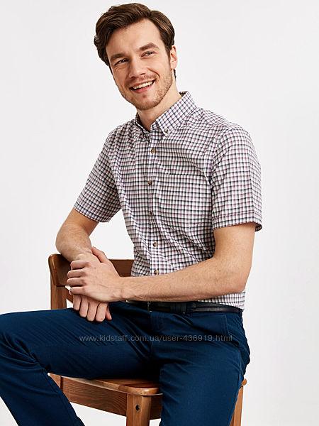 белая мужская рубашка LC Waikiki в бордово-графитовую клетку