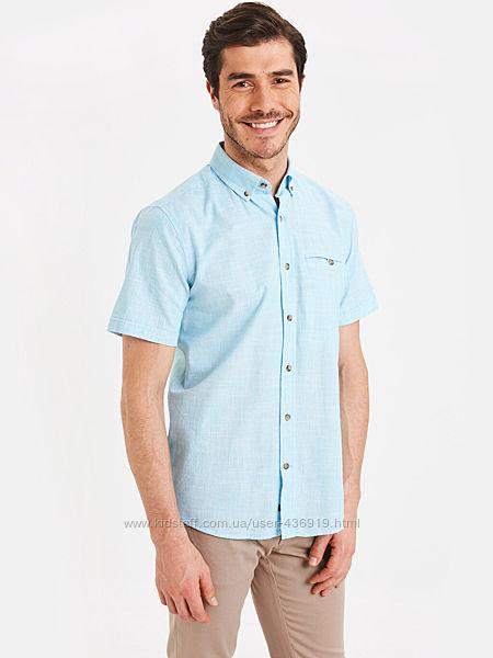 голубая мужская рубашка LC Waikiki в мелкую белую клетку, с карманом