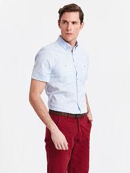 голубая мужская рубашка LC Waikiki в мелкую белую полоску, с карманами