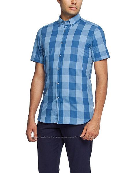 голубая мужская рубашка LC Waikiki с коротким рукавом, в синюю клетку
