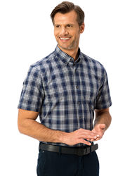 синяя мужская рубашка LC Waikiki в серо-белую клетку, с карманом на груди