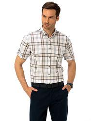 белая мужская рубашка LC Waikiki с карманом на груди, в клетку цвета хаки