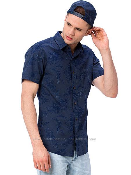 синяя мужская рубашка LC Waikiki с карманом на груди, с лиственным принтом