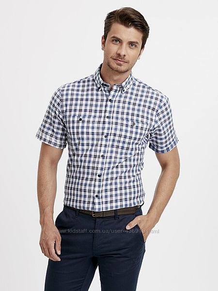 белая мужская рубашка LC Waikiki с карманом на груди, в синюю клетку