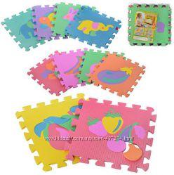 Игровой коврик пазлы разноцветный мозаика Веселая головоломка
