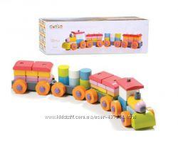 Деревянная игрушка конструктор поезд 11681 Cubika отличное качество