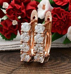 Женские серьги Xuping с фианитами медицинское золото