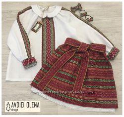 Костюм в украинском стиле на девочку вышиванка с юбкой