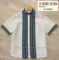 Детская рубашка-вышиванка на мальчика короткий рукав воротник стойка