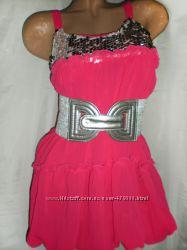 Нарядное платье, шифоновое, коктейльное платье с пайетками, яркое, мини.