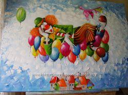 Картина маслом Клоун 65х90