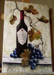 картина маслом Натюрморт з виноградом 40х60