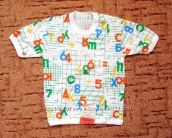 Белая футболка хлопковая Новая с цифрами и буквами на рост 128-1