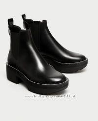 Ботинки Полусапожки  из натуральной кожи, 39р.  Зара ZARA