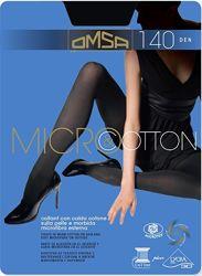 Omsa Micro&cotton 140 Двухслойные колготки велюр и хлопок.