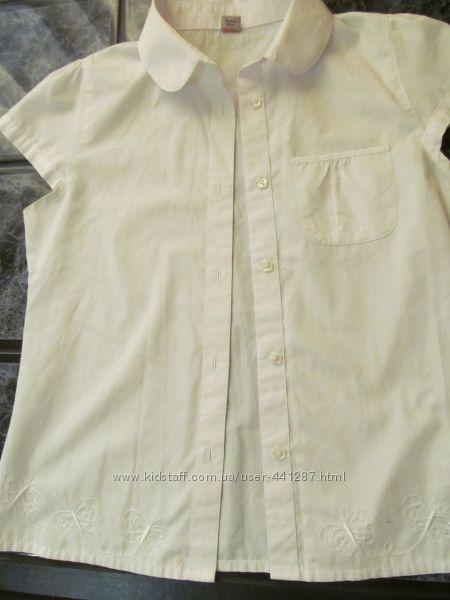 Белоснежная школьная блуза на девочку 12 лет