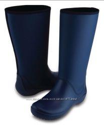 резиновые сапоги Crocs Navy RainFloe Tall Rain Boot W7