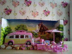 Автобус трейлер для кукол с мебелью и посудой