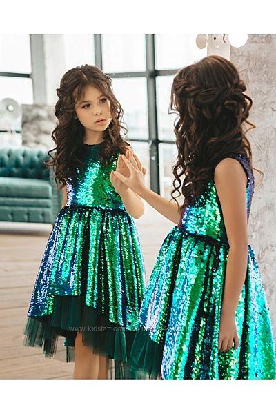 нарядное платье для девочки в пайетках-перевертышах р. 140 см