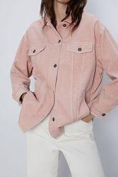 ZARA Плотная вельветовая рубашка пиджак оверсайз с карманами