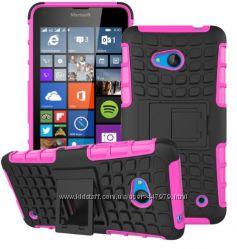 Противоударный чехол бампер с подставкой для Microsoft Lumia 640пленка
