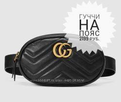 Новая женская черная сумка Гуччи на пояс
